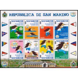 SAN MARINO/SELLOS, 2001 -DEPORTES - XI JUEGOS DE LOS PEQUEÑOS ESTADOS DE EUROPA - YV. 1749/56 - HOJITA - NUEVO